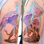קעקוע פנטזיה אריה עם כנפיים