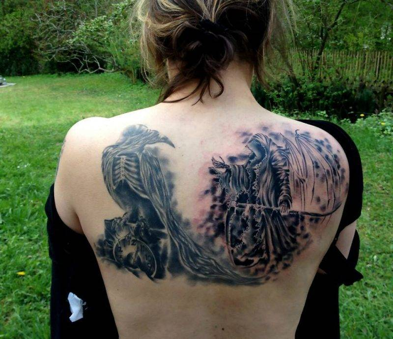 קעקוע מלאך המוות לגב
