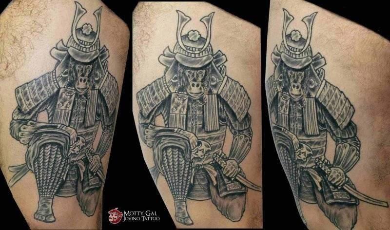 קוף סמוראי שחור אפור ירך