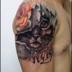 קעקוע חתול מופשט