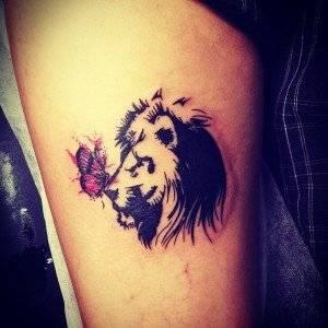 קעקוע אריה עם פרפר